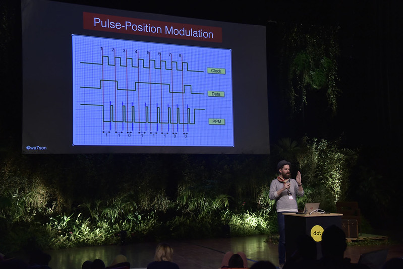 Thomas Watson in front of the giant screen showing a picture of the Pulse-Position modulation