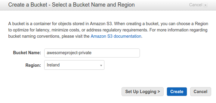 Create a bucket on Amazon S3