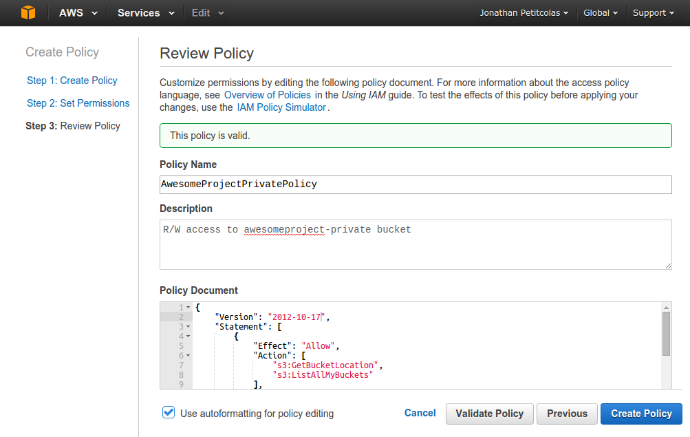 Create a Amazon IAM policy