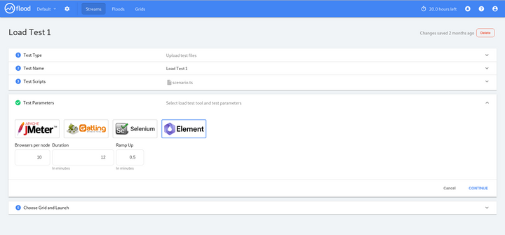 Flood.io screenshot showing a form to start a launch a test